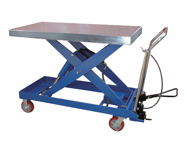 单剪式气动液压双功能双油缸结构平台车